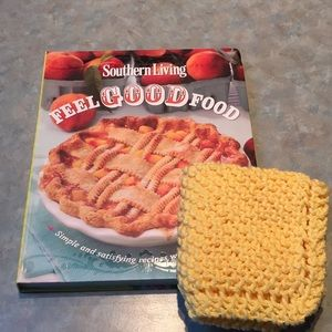 Southern Living recipe book and cotton dishtowel.
